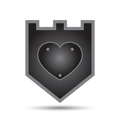 Love heart iron shield vector