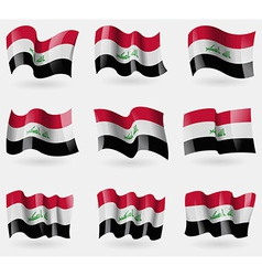 Set of iraq flags in the air vector