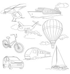 Travel set with car air-balloons ships bike vector