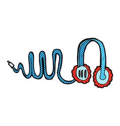 Comic cartoon headphones vector