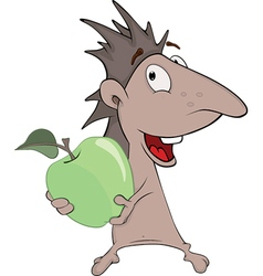 Little hedgehog and green apple cartoon vector image