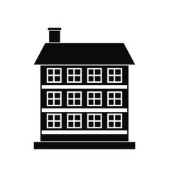 Three-storey house black simple icon vector