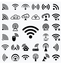 Set of black wireless and wifi icons vector image