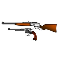 ancient pistol and rifle vector image vector image