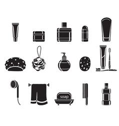 Bathroom equipments set monochrome vector