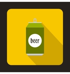 Beer can icon flat style vector