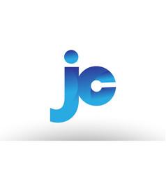Blue gradient jc j c alphabet letter logo vector