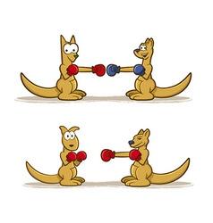 Boxing Kangaroo Set vector image vector image
