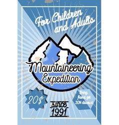 Color vintage mountaineering poster vector