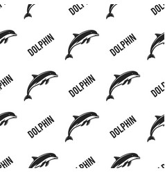 dolphin seamless with typography sign wild animal vector image