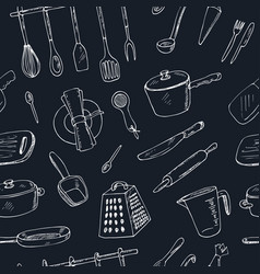 doodle kitchen tool seamless pattern - vector image