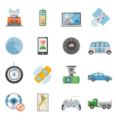 Driverless Car Autonomous Vehicle Icons Set vector image