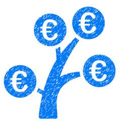 euro money tree icon grunge watermark vector image vector image
