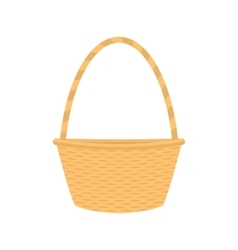 Flat cartoon empty straw wicker basket vector