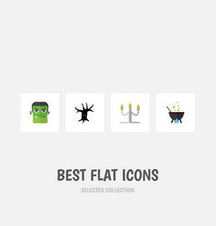 flat icon halloween set of candlestick terrible vector image vector image