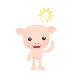 funny cartoon pig vector image vector image