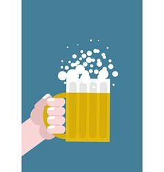 Hand holding mug of beer Alcohol consumption Mans vector image