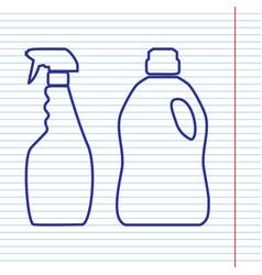 Household chemical bottles sign navy line vector
