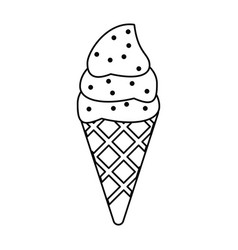 Ice cream sweet cold thin line vector