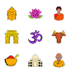 Indian travel icons set cartoon style vector