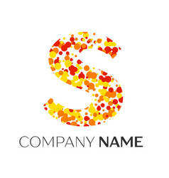 Letter s logo with orange yellow red particles vector