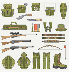 line flat color hunt and camping equipment vector image
