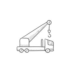 Mobile crane sketch icon vector image