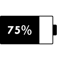 Mobile smart phone battery 75 percent icon vector