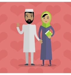 Muslim people arabian family arabic husband wife vector