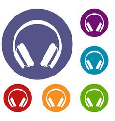 protective headphones icons set vector image
