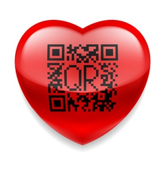 Red heart with QR code vector image