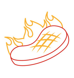 roasted steak beef flame food icon vector image
