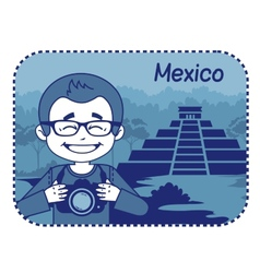 Teaser with photographer travels through mexico vector