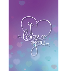 Valentines Card I Love You Purple Blue vector image vector image