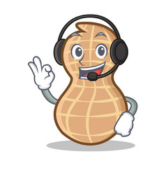 With headphone peanut character cartoon style vector