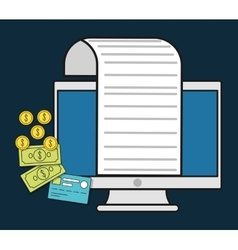 computer document paper invoice payment icon vector image