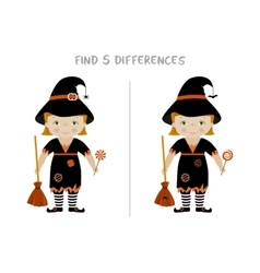 Halloween find differences game for kids vector