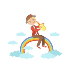 Boy playing saxophone with rainbow and clouds vector