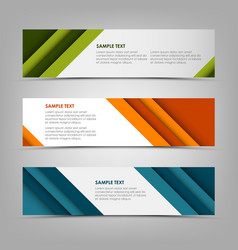 Collection banners with abstract design stripes vector