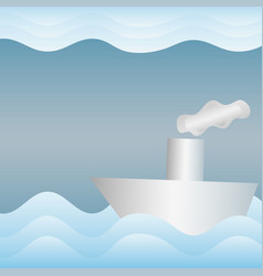 paper boat in the paper sea wavy abstract vector image