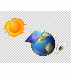 Diagram showing sun and solar cell on earth vector