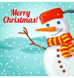 Merry christmas greeting card with cute snowman vector