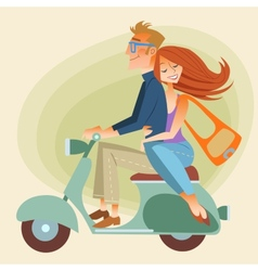 Lovers man and woman on retro bike going down the vector