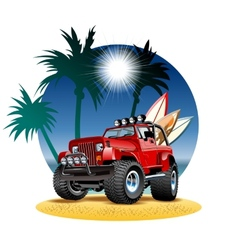 Cartoon 4x4 car on beach vector