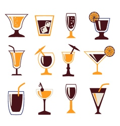 cocktails set set silhouettes of Cocktail glasses vector image