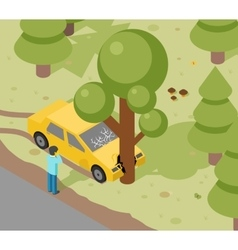 Car tree crash vector