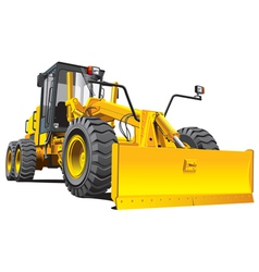 Detailed ial image of yellow roadgrader isolated o vector