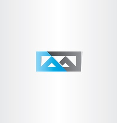 Logo m letter m blue black icon vector