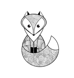 Black and white hand drawn fox vector