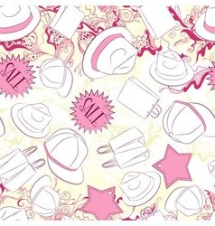 Seamless pattern with men hats and fashion vector
